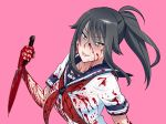 1girl black_eyes black_hair blood blood_on_face blood_splatter bloody_clothes bloody_weapon evil_smile kjech knife official_art ponytail school_uniform smile weapon yandere-chan yandere_simulator