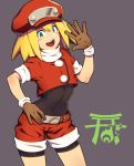 1girl absurdres bangs belt blonde_hair blush_stickers bodystocking breasts brown_belt brown_gloves commentary_request covered_navel cowboy_shot crop_top gloves green_eyes grey_background hand_on_hip hand_up hat highres long_hair looking_at_viewer open_mouth red_hat red_shirt red_shorts rockman rockman_dash roll_caskett shirt short_sleeves shorts simple_background small_breasts smile solo standing teeth yuuten