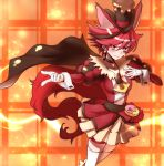 1girl animal_ears brown_cape cape choker cure_chocolat dog_ears dog_tail earrings gloves hat highres jewelry kenjou_akira kirakira_precure_a_la_mode looking_at_viewer magical_girl precure red_eyes redhead short_hair skirt smile solo sumiosmith tail thigh-highs white_gloves white_legwear