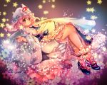 1girl ankle_cuffs bangs blue_shoes blush breasts butterfly_ornament floral_background frilled_kimono frills full_body hagoromo hair_between_eyes high_heels japanese_clothes kimono legs long_sleeves nagare obi pink_eyes pink_hair purple_background reflective_eyes ribbon-trimmed_collar ribbon-trimmed_sleeves ribbon_trim saigyouji_yuyuko sash shawl shiny shiny_hair shoes short_hair smile solo star starry_background touhou triangular_headpiece veil white_legwear wide_sleeves