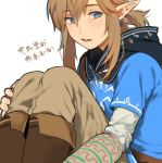 1boy blonde_hair blue_eyes blush link long_hair looking_at_viewer male_focus open_mouth pointy_ears ponytail roda_(roda826) smile solo the_legend_of_zelda the_legend_of_zelda:_breath_of_the_wild