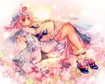 1girl ankle_cuffs bangs blue_shoes blush breasts butterfly_ornament floral_background frilled_kimono frills full_body hagoromo hair_between_eyes high_heels japanese_clothes kimono legs long_sleeves nagare obi pink_background pink_eyes pink_hair reflective_eyes ribbon-trimmed_collar ribbon-trimmed_sleeves ribbon_trim saigyouji_yuyuko sash shawl shiny shiny_hair shoes short_hair smile solo star starry_background touhou triangular_headpiece veil white_legwear wide_sleeves