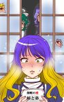 blonde_hair blue_eyes blush embarrassed gradient_hair highres hijiri_byakuren indoors kumoi_ichirin long_hair manga_(object) multicolored_hair multiple_girls murasa_minamitsu nazrin peeking purple_hair red_eyes shiraue_yuu sliding_doors smile toramaru_shou touhou translated two-tone_hair yellow_eyes