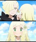 1boy 1girl bangs blonde_hair blue_sky blunt_bangs blush braid brother_and_sister clouds cloudy_sky day ear_piercing face flower flower_on_head gladio_(pokemon) green_eyes hair_over_one_eye highres lillie_(pokemon) long_hair piercing pokemon pokemon_(anime) pokemon_sm_(anime) siblings sky smile split_screen twin_braids