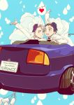 2boys :d black_hair blue_eyes blue_rose bridal_veil brown_eyes can car character_name copyright_name english flower ground_vehicle hair_slicked_back heart highres husband_and_husband katsuki_yuuri male_focus motor_vehicle mouri multiple_boys open_mouth purple_rose rose silver_hair smile veil viktor_nikiforov waving yaoi yuri!!!_on_ice