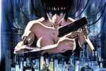 1girl 90s black_hair breasts building cable cityscape cyberpunk cyborg ghost_in_the_shell gun handgun kusanagi_motoko machinery official_art okiura_hiroyuki promotional_art scan science_fiction serious sunglasses toned traditional_media trigger_discipline weapon