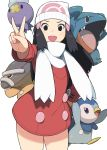 1girl accho_(macchonburike) alternate_costume beanie black_eyes black_hair commentary_request drifloon fang gible hair_ornament hat hikari_(pokemon) open_mouth piplup pokemon pokemon_(creature) scarf sharp_teeth shieldon teeth v