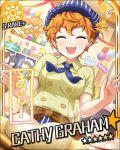 blush card_(medium) cathy_graham character_name closed_eyes dress happy idolmaster idolmaster_cinderella_girls orange_hair scarf short_hair stars