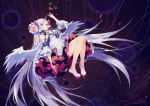 1girl bare_shoulders bent_knees criin_(659503) falling flower full_body heterochromia horn long_hair red_eyes shoes signature solo very_long_hair vocaloid vocanese white_hair wings xingchen yellow_eyes