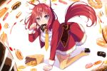 1girl ahoge amairo_islenauts bag blush doughnut eating eyebrows_visible_through_hair food food_in_mouth hair_ornament highres looking_at_viewer masaki_gaillard necktie orange_necktie paper_bag paw_pose pot-palm redhead short_hair solo tail thigh-highs violet_eyes x_hair_ornament yellow_legwear