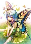 1girl absurdres antennae artist_name blue_hair butterfly butterfly_wings commentary dress etarnity_larva from_above grass green_dress hair_ornament highres hinasumire leaf leaf_hair_ornament looking_at_viewer on_ground open_mouth short_hair sitting solo touhou wings yellow_eyes