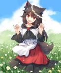 >:d 1girl :d animal_ears bei_mochi black_hair blush brooch collarbone day dress fangs field flower flower_field full_body hair_between_eyes head_wreath imaizumi_kagerou jewelry long_hair looking_at_viewer open_mouth paw_pose red_eyes smile solo tail touhou wolf_ears wolf_tail