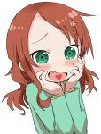 1girl absurdres blush bohegao brown_hair child flower forehead green_eyes hair_flower hair_ornament hairpin hands_on_own_face heart heart_in_mouth highres kobayashi-san_chi_no_maidragon long_hair open_mouth saikawa_riko upper_body white_background yamamoto_souichirou