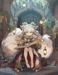 1girl animal_ears anklet barefoot book demon_horns detached_sleeves feathered_wings fur_trim hair_tubes highres horns ilmina_(p&d) jewelry library multiple_tails puzzle_&_dragons tail tennohi white_hair wings yellow_eyes