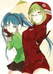 2girls :d bangs black_skirt blue_hair blush breasts brown_eyes closed_mouth commentary_request cowboy_shot facepaint gloves green_hair green_jacket gumi hand_on_own_chin hatsune_miku headphones hood hood_up hoodie index_finger_raised jacket leaning_forward long_sleeves looking_at_viewer lpip matryoshka_(vocaloid) medium_breasts miniskirt multiple_girls open_mouth pleated_skirt red_gloves red_shorts ringed_eyes short_hair short_shorts shorts skirt smile standing thighs track_jacket triangle twintails two-tone_background vocaloid zipper