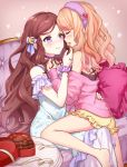 2girls :o aikatsu! aikatsu_stars! bangs blonde_hair blush box bracelet brown_hair chair chocolate chocolate_heart choker feeding grabbing hair_ornament hand_in_another's_hair hand_on_hip headband heart heart-shaped_box hug incest jewelry kasumi_mahiru kasumi_yozora long_hair long_sleeves looking_at_another multiple_girls nightgown off_shoulder open_mouth pajamas pillow siblings sisters sitting sitting_on_lap sitting_on_person smile thighs valentine very_long_hair violet_eyes wavy_hair yuri yutsumoe