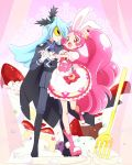 1boy 1girl :o androgynous animal_ears blue_hair boots cake_hair_ornament cape commentary_request cure_whip earrings epaulettes extra_ears food food_themed_hair_ornament fork formal fruit gloves hair_ornament hand_holding hand_on_another's_hip jewelry julio_(kirakira_precure_a_la_mode) kirakira_precure_a_la_mode long_hair magical_girl mask necktie open_mouth pink pink_choker pink_eyes pink_hair pointy_ears precure puffy_short_sleeves puffy_sleeves rabbit_ears short_sleeves smile strawberry strawberry_shortcake suit twintails usami_ichika whipped_cream white_gloves yui_(kanatamoo)