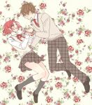 1boy 1girl ahoge alternate_costume blush brown_hair datte_waka floating floral_background hand_holding looking_at_another necktie no.6 open_mouth pants plaid plaid_pants plaid_skirt pleated_skirt red_eyes redhead ribbon safu school_uniform shion_(no.6) short_hair skirt smile sweater sweater_vest