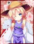 1girl blonde_hair blue_eyes blush flower highres mishaguji moriya_suwako touhou unory