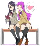 2girls bench black_hair blazer blush earrings flirting frown full_body glasses hand_on_another's_leg heartcatch_precure! jacket jewelry kirakira_precure_a_la_mode kneehighs kotozume_yukari long_hair multiple_girls myoudou_gakuen_high_school_uniform neckribbon open_mouth precure purple_hair school_uniform sitting skirt smile sweatdrop tsukikage_yuri umanosuke violet_eyes yuri
