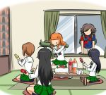 5girls akiyama_yukari bangs bazooka black_legwear blouse brown_eyes brown_hair cake cup food girls_und_panzer green_skirt isuzu_hana juice kogane_(staygold) long_sleeves lowres messy_hair multiple_girls nishizumi_miho ooarai_school_uniform party_popper pleated_skirt reizei_mako room school_uniform serafuku short_hair skirt takebe_saori weapon white_blouse window