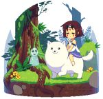 animal animated animated_gif annoying_dog brown_hair cosplay dav-19 dog facial_tattoo flower frisk_(undertale) grass headband lowres mononoke_hime san san_(cosplay) tattoo tree undertale w.d._gaster
