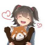 1girl :3 absurdres akagi_miria animal bangs black_hair blue_shirt closed_eyes commentary eyebrows_visible_through_hair hair_ornament hair_scrunchie heart highres holding holding_animal idolmaster idolmaster_cinderella_girls kamille_(vcx68) long_sleeves open_mouth red_panda scrunchie shirt short_hair simple_background smile solo teeth two_side_up upper_body white_background