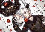 1boy 1girl amputee black_dress blue_eyes breasts candytang442494812 choker dress flower gloves hairband long_sleeves mole mole_under_mouth nier_(series) nier_automata short_hair silver_hair smile spoilers white_hair yorha_no._2_type_b yorha_no._9_type_s