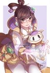 1girl alternate_costume alternate_hairstyle brown_eyes brown_hair chang'e_mei chinese_clothes drone earrings eyebrows_visible_through_hair glasses hagoromo hair_rings highres jewelry mei_(overwatch) outstretched_arms overwatch sharmi1010 shawl short_hair signature snowball_(overwatch) solo yellow-framed_eyewear