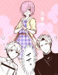 1girl 2boys adapted_costume alternate_costume black_hair blue_eyes blush commentary_request dress fate/grand_order fate_(series) father_and_daughter fujikiti fujimaru_ritsuka_(male) glasses hair_over_one_eye lancelot_(fate/grand_order) multiple_boys plaid plaid_dress purple_hair shielder_(fate/grand_order) short_hair smile translation_request violet_eyes
