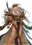 1girl bangs bare_shoulders breasts cleavage closed_mouth feet_out_of_frame floral_print hair_between_eyes halberd highres holding holding_weapon japanese_clothes kimono kureta_(nikogori) large_breasts legband long_hair million_chain off_shoulder pelvic_curtain polearm ponytail red_eyes simple_background smile solo standing very_long_hair watermark weapon white_background white_hair