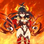 1girl bangs black_gloves black_hair black_leotard boots braid breasts cleavage cowboy_shot epaulettes fingerless_gloves fire flame gloves hair_ornament hotori_(sion) jacket large_breasts leotard long_hair long_sleeves looking_at_viewer navel original parted_lips pointy_ears ponytails pyrokinesis red_boots red_eyes red_jacket smile solo standing thigh-highs thigh_boots twin_braids