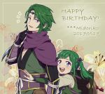 ! 1boy 1girl bag blush character_name circlet father_and_daughter fire_emblem fire_emblem_if floral_background gloves green_hair happy_birthday hiyori_(rindou66) long_hair midoriko_(fire_emblem_if) open_mouth scarf suzukaze_(fire_emblem_if) teeth twintails upper_body violet_eyes