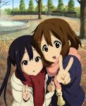 2girls :o black_hair brown_hair casual hand_holding highres hikiyama_kayo hirasawa_yui k-on! k-on!_movie long_hair multiple_girls nakano_azusa scarf short_hair v
