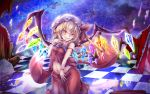 1girl breasts commentary_request crystal flandre_scarlet haru_(hottikisu25) hat large_wings looking_at_viewer mob_cap navel night night_sky sky small_breasts solo touhou vampire wings