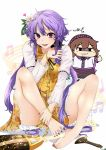 2girls bad_feet bare_legs barefoot biwa_lute brown_eyes brown_hair chibi dress feet flower hair_flower hair_ornament highres instrument long_hair low_twintails lute_(instrument) multiple_girls purple_hair rihito_(usazukin) short_dress siblings sisters solo_focus spread_toes thumbs_up toes touhou transparent_sleeves tsukumo_benben tsukumo_yatsuhashi twintails very_long_hair violet_eyes yellow_dress