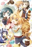 6+girls :d :o ahoge american_beaver_(kemono_friends) animal_ears animal_print ankle_boots antenna_hair artist_name backpack bag bangs_pinned_back bare_shoulders beaver_ears beaver_tail beige_shorts beige_sweater belt black-tailed_prairie_dog_(kemono_friends) black_eyes black_gloves black_hair black_legwear black_ribbon black_skirt black_swimsuit blonde_hair blue_shirt blush boots bow bowtie brown_belt brown_eyes brown_jacket brown_shoes bucket_hat clenched_hand closed_mouth collarbone common_raccoon_(kemono_friends) dot_nose dotted_line elbow_gloves extra_ears eye_contact eyebrows eyebrows_visible_through_hair eyelashes fang fennec_(kemono_friends) floating food food_in_mouth food_on_face fox_ears fox_tail from_side fur_collar fur_trim glomp gloves gradient_clothes gradient_hair gradient_legwear green_bow green_bowtie green_ribbon grey_hair hair_between_eyes hair_ornament hairclip hands_together hat hat_feather high-waist_skirt highres holding holding_food hug hug_from_behind jacket jitome jumping kaban_(kemono_friends) kemono_friends leg_lift legs_up light_brown_hair loafers long_sleeves looking_at_another looking_at_viewer looking_to_the_side mouth_hold multicolored multicolored_background multicolored_clothes multicolored_hair multicolored_legwear multiple_girls namori one-piece_swimsuit open_clothes open_jacket open_mouth orange_hair pantyhose pink_sweater pleated_skirt popped_collar prairie_dog_ears prairie_dog_tail print_bow print_bowtie print_gloves print_legwear print_skirt puffy_short_sleeves puffy_sleeves raccoon_ears raccoon_tail red_shirt ribbon serval_(kemono_friends) serval_ears serval_print serval_tail sharing_food shirt shoe_ribbon shoe_soles shoes short_hair short_shorts short_sleeve_sweater short_sleeves shorts skirt sleeveless sleeveless_jacket sleeveless_shirt smile socks socks_over_thighhighs striped_tail sweater swimsuit swimsuit_under_clothes tail teeth thigh-highs tsurime two-tone_hair waist_hug white_background white_boots white_footwear white_hair white_legwear white_shirt white_shoes white_skirt yellow_bow yellow_bowtie yellow_eyes yellow_gloves yellow_legwear zettai_ryouiki