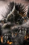 city claws destruction glowing glowing_eyes godzilla godzilla_(series) highres josegalvan kaijuu mecha mechagodzilla monster no_humans robot sharp_teeth sitting tail teeth throne