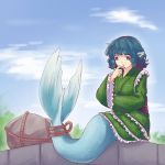 blue_eyes blue_hair clouds drill_hair finger_to_chin fish_tail head_fins highres japanese_clothes looking_down mermaid monster_girl rock rope sitting sky thinking touhou wakasagihime yoruny