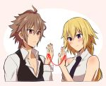 1boy 1girl ahoge bangs blonde_hair blush braid couple eyebrows_visible_through_hair fate/apocrypha fate_(series) from_side hetero jeanne_d'arc_(fate) jeanne_d'arc_(fate)_(all) long_braid long_hair long_sleeves loop necktie nyorotono open_clothes pink_background purple_neckwear red_eyes red_string shirt short_hair sieg_(fate/apocrypha) simple_background single_braid sleeveless sleeveless_shirt string very_long_hair violet_eyes waistcoat white_shirt