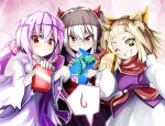 >;) 3girls ahoge blonde_hair box brown_hair character_request commentary copyright_request eyebrows_visible_through_hair fang fang_out frown gift gift_box grin hair_between_eyes highres horns incoming_gift japanese_clothes kimono long_hair looking_at_viewer low_twintails multiple_girls purple_hair red_eyes scarf short_hair smile spirit-edge spoken_sweatdrop sweatdrop teeth twintails valentine wavy_mouth yellow_eyes