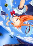 1girl :d absurdres animal bag bird black_skirt blue_sky book bow bowtie city cityscape clouds cloudy_sky commentary day eroge-_(artist) falling floating_hair hair_bow hair_ornament hairclip hat hat_removed headwear_removed heart highres horizon latin_cross long_hair looking_at_viewer ocean open_book open_mouth orange_hair original outdoors outstretched_arms paper pink_eyes pleated_skirt purple_bow red_bow red_neckwear school_bag school_uniform seagull serafuku shiny shiny_hair shore short_sleeves skirt sky smile solo spread_arms striped striped_bow stuffed_animal stuffed_toy teddy_bear white_hat wind wristband