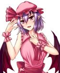 1girl ascot bare_arms bare_shoulders bat_wings breasts dress fingernails hair_ribbon hat highres hot large_breasts lips long_fingernails mob_cap nail_polish older pink_dress pink_nails pointy_ears purple_hair red_eyes remilia_scarlet ribbon sash simple_background sleeveless sleeveless_dress solo sweat touhou white_background wings wrist_cuffs zeramu