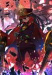 1girl antique_firearm bangs belt_buckle black_belt black_hair brown_jacket brown_pants buckle burning_eyes cape chains cloak closed_mouth commentary_request demon_archer double-breasted eyebrows_visible_through_hair family_crest fate/grand_order fate_(series) fire firearm floating_hair gloves glowing glowing_eyes grey_gloves gun hair_between_eyes hat high_collar highres holding holding_sword holding_weapon kashu_(hizake) katana knee_pads legs_apart light_particles long_hair long_sleeves looking_at_viewer military military_uniform oda_clan_mon pants peaked_cap red_cloak red_eyes red_hat rifle scabbard sheath sheathed skeleton smile smirk solo standing sword translation_request uniform very_long_hair weapon wind