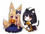 2girls :> ;d ahoge animal_ears black_hair bow brown_eyes brown_hair cat_ears cat_tail chibi covering_mouth detached_sleeves fox_ears fox_tail ghost hair_bow hair_ornament halloween irimo-m jack-o'-lantern long_hair looking_at_viewer multiple_girls one_eye_closed open_mouth original simple_background smile striped striped_legwear tail thigh-highs white_background |_|