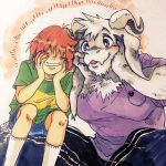 1boy androgynous asriel_dreemurr blue_eyes chara_(undertale) child closed_eyes green_shirt grin haramushi highres horns indian_style monster_boy shirt shorts sitting sitting_on_lap sitting_on_person smile socks spoilers striped striped_shirt t-shirt undertale