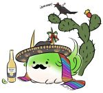 alcohol beer blush bottle bow cactus commentary corona_(brand) ex-keine facial_hair hat horn_bow horns kamishirasawa_keine lime mefomefo mexican mustache no_humans product_placement pun scarf shameimaru_aya shameimaru_aya_(crow) simple_background solid_circle_eyes solo sukusuku_hakutaku tail tokin_hat touhou