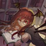 1girl artist_name back_cutout bat_wings belt bespectacled black-framed_eyewear black_wings book bookshelf breasts checkered checkered_floor floating from_above glasses head_wings hexagram holding holding_book impossible_clothes impossible_vest indoors koakuma large_breasts library long_hair long_sleeves looking_at_viewer looking_back magic magic_circle necktie puffy_long_sleeves puffy_sleeves recare red_eyes red_necktie redhead round sheath signature solo touhou upper_body vest wavy_hair window wings