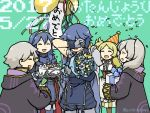 blonde_hair blue_eyes blue_hair blush brother_and_sister cake cape closed_eyes dress dual_persona father_and_daughter fire_emblem fire_emblem:_kakusei food gloves hair_ornament krom liz_(fire_emblem) long_hair lucina male_my_unit_(fire_emblem:_kakusei) my_unit_(fire_emblem:_kakusei) open_mouth pirihiba short_hair short_twintails siblings smile sumia tiara twintails