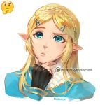 1girl artist_name blonde_hair blue_eyes chin_stroking commentary emoji fingerless_gloves gloves hair_ornament hairclip hand_on_own_chin looking_to_the_side patreon_username pointy_ears princess_zelda reddverse simple_background solo the_legend_of_zelda the_legend_of_zelda:_breath_of_the_wild thinking upper_body white_background